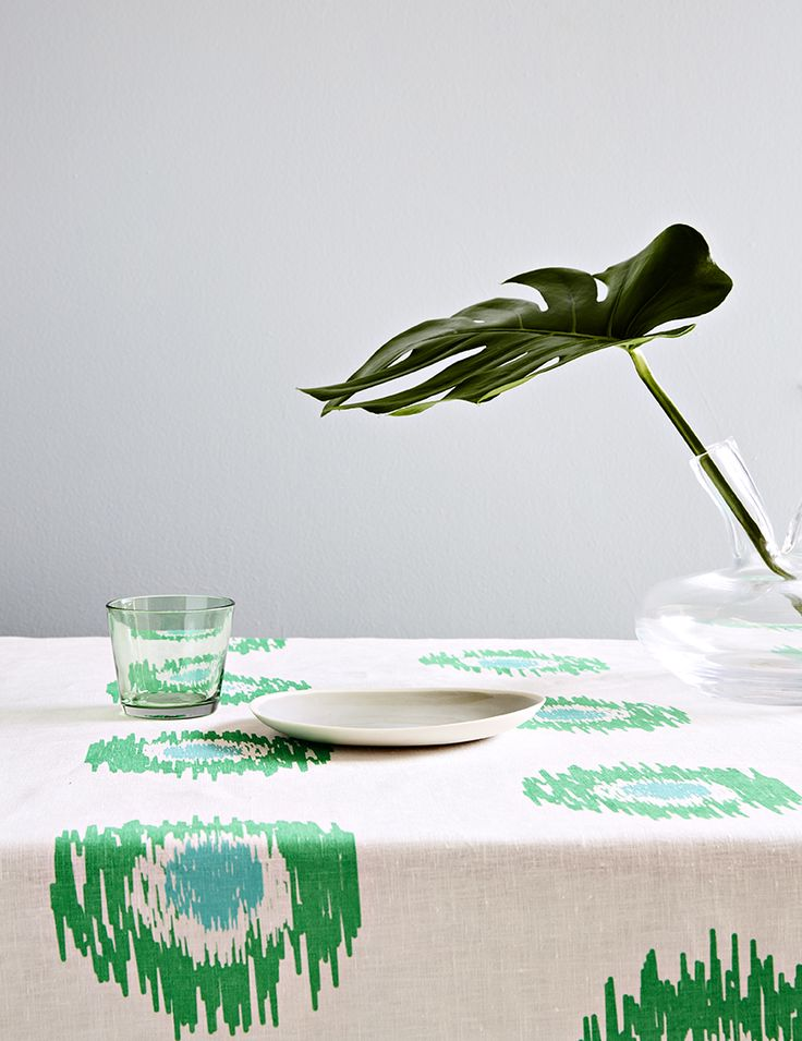 Aqua door Designs 'Ikat Spot' linen tablecloth in green and aqua styled by Danielle Selig, photographed by James Tolich