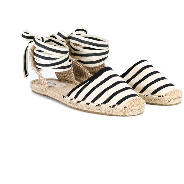Soludos Striped Espadrille Sandals ($63) ❤ liked on Polyvore featuring shoes, sandals, flats, evening flats, espadrille flats, special occasion shoes, black and white shoes and black and white flats
