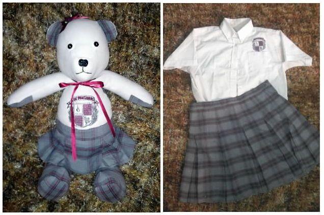 Sweet little Memory Bear made from an old school uniform.