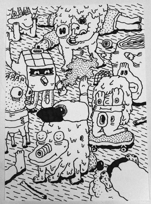 JO14. without title, Joakim Ojanen. Original artwork. Pen on paper. Size A3.   www.joakimojanen.com