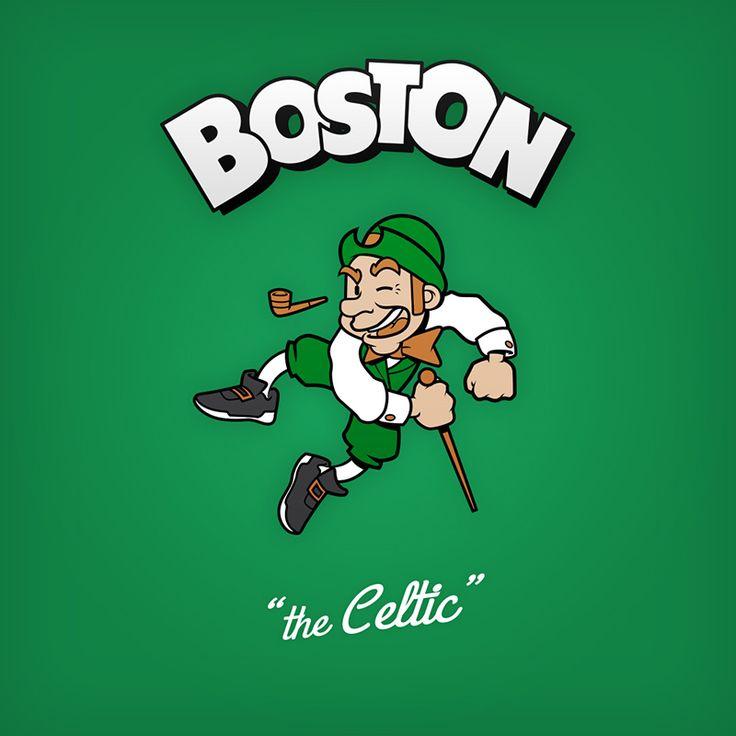 """Boston """"the Celtic"""" design de logo NBA en personnages de dessin animés"""