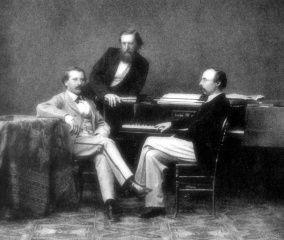 Los amigos y devotos seguidores de Richard Wagner (1813-1883), el pianista y compositor polaco, Carl Tausig (1841-1871), el compositor y violinista alemán, Karl Klindworth (1830-1916), y el pianista y compositor alemán, Hans von Bülow (1830-1894). #EnciclopediaLibre #miercolesretratos (Public Domain)
