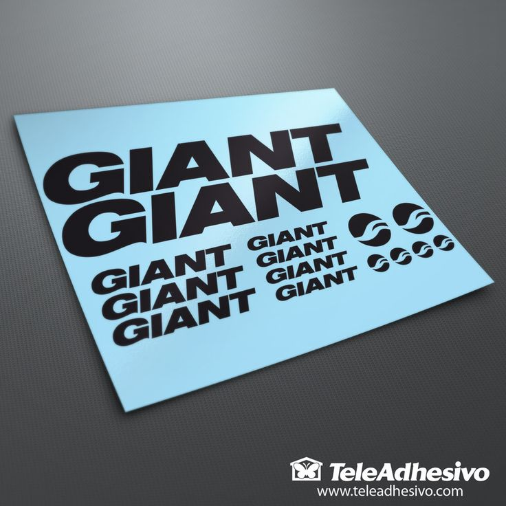 Kit pegatinas Bicicleta Montaña BTT Giant 1. 2 Giant 30x4,5 cm. 3 Giant 12x1,8 cm. 4 Giant 8x1,2 cm. 2 Logo 3,8x3,6 cm. 4 Logo 1,9x1,8 cm. Espátula incluida.