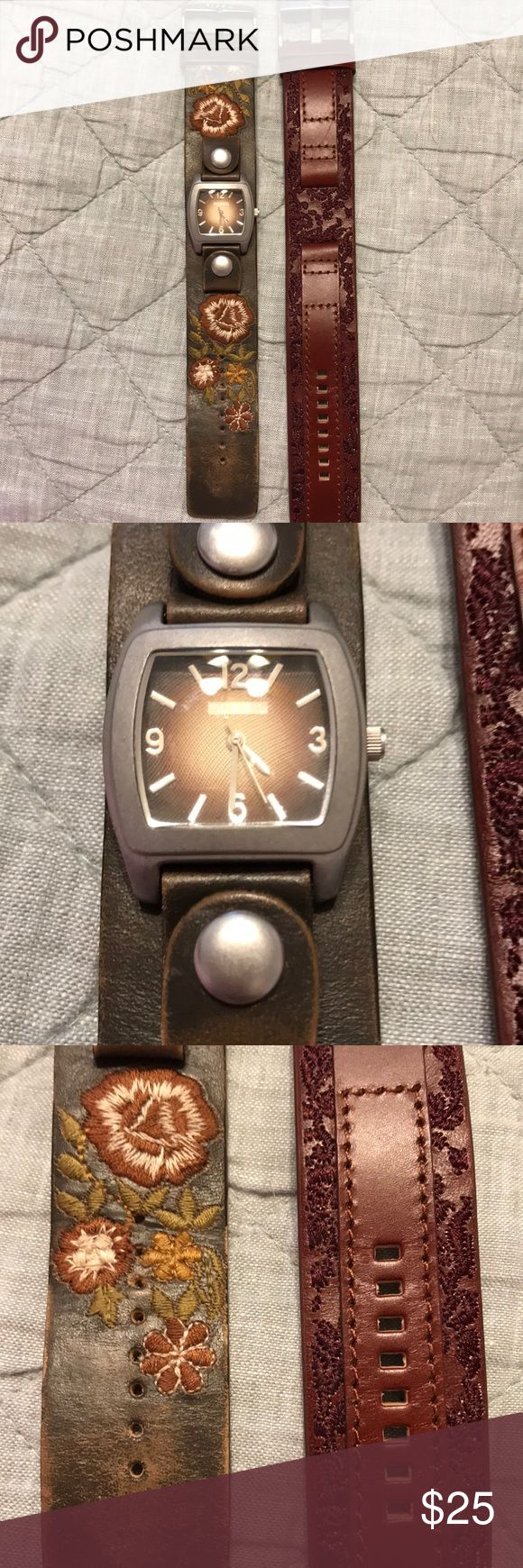 Fossil watch face and two wrist bands One Fossil watch face and two wrist bands feature intricate embroidery on genuine leather. The beautiful fall tones complement the silver and brown watch face and will match everything! Watch needs battery replacement. Fossil Accessories Watches