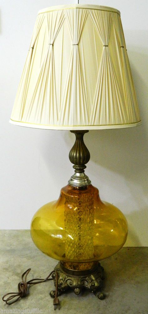 Amber Glass Globe Table Lamp Retro Mid Century Modern Vintage Night Light  Base Light Shade Metal