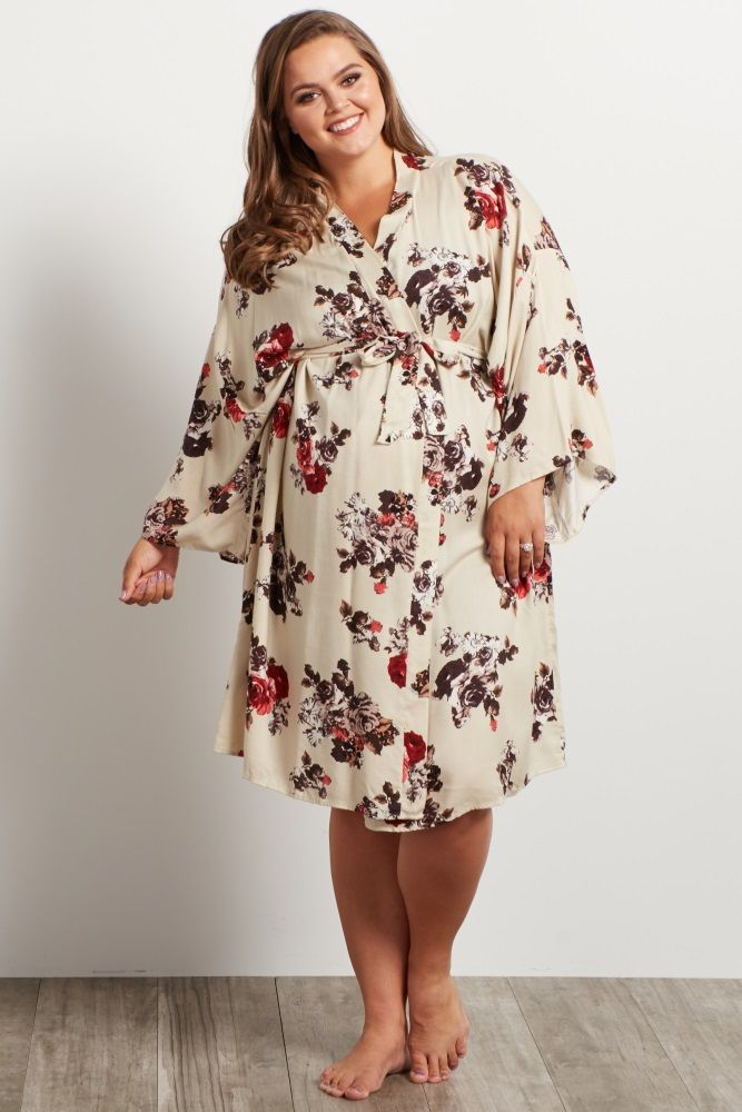 Cream Floral Plus Size Delivery/Nursing Maternity Robe
