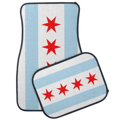 Flag of Chicago Illinois Car Floor Mat - blue gifts style giftidea diy cyo