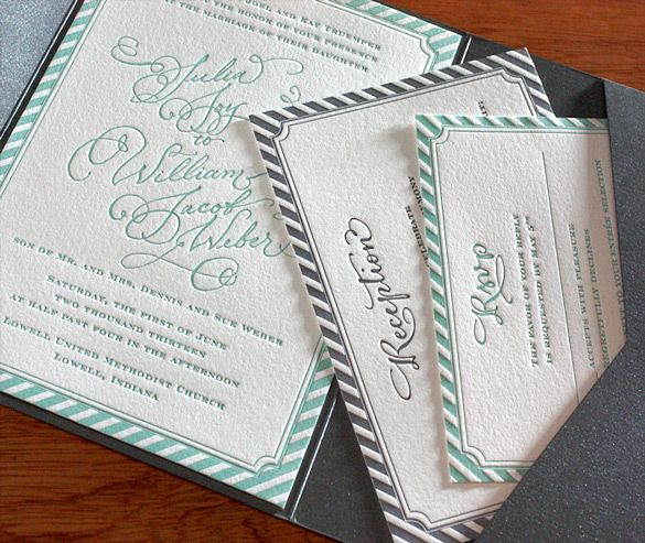 Joy's incredible stripes look amazing in letterpress wedding invitations with matching enclosure cards.