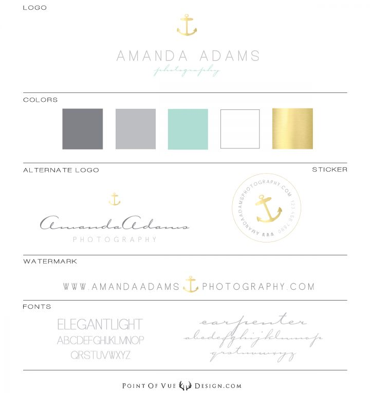 Amanda Adams Custom Logo Design, Custom Prophoto Blog website design, custom branding, nautical, anchor, gold foil, luxury custom branding  Point of Vue Design