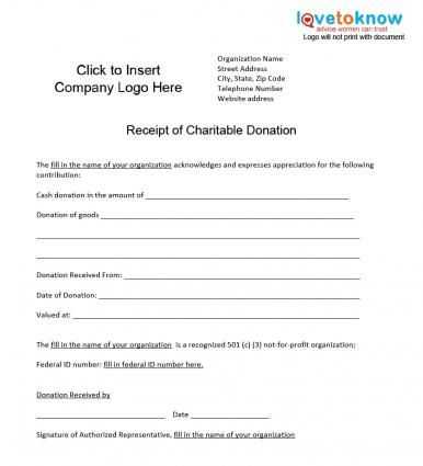 Charitable donations receipt