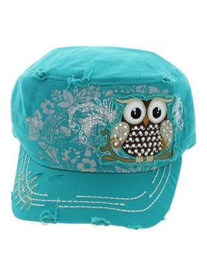 Trendy Owl Cadet Hat with Ponytail Hole - Turquoise