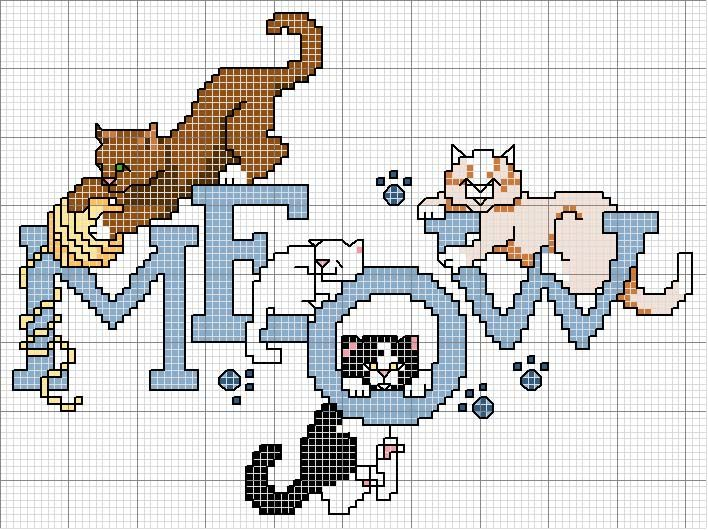 Cross-stitch Meow with Kitties... no color chart available, just use pattern chart as your color guide.. or choose your own colors...