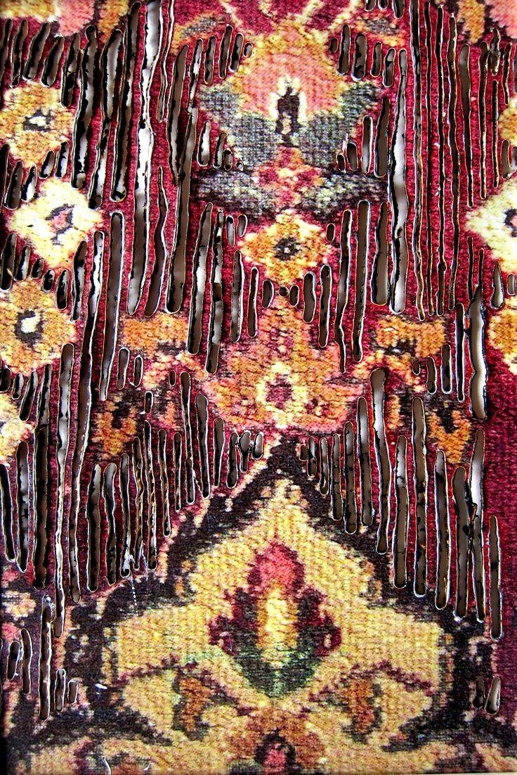 Pyrografie, Teppich, orientalisch, Ornamente, gebrannt