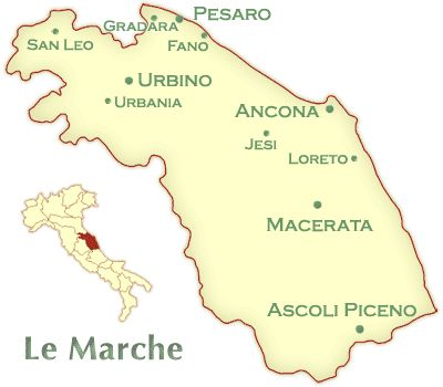 Italian Wine of Marche  Marche Wine ItalyThe Marche is bounded to the west by the Apennines, Umbria, and a corner of Tuscany, in the north by Emilia, to the south by Abruzzo, and in the east by the Adriatic.