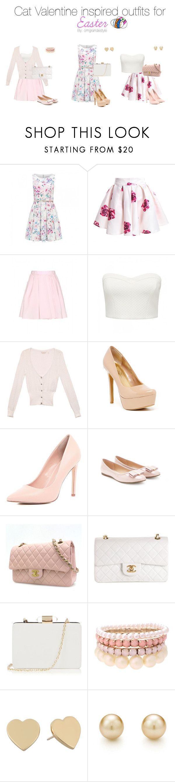 """""""Cat Valentine inspired outfits for Easter"""" by dashinggrande ❤ liked on Polyvore featuring Forever New, Carven, GUESS, Jessica Simpson, River Island, Forever 21, Chanel, Oasis, Lipsy and Kate Spade"""