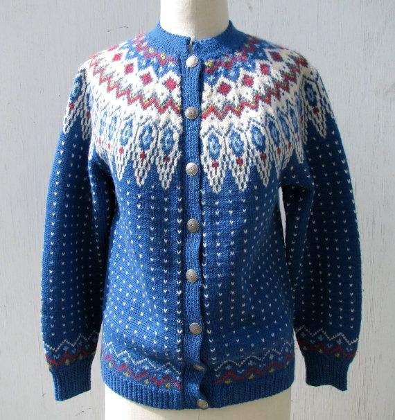 1970s Fair Isle Knit Cardigan Sweater, Irish Wool, Yoked, Blue. $35.00, via Etsy.