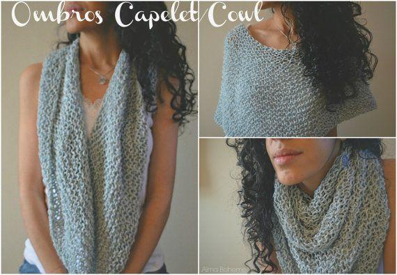 Ombros Antique Blue Cozy knit capelet cowl scarf by AlmaBoheme #knit #capelet #cowl
