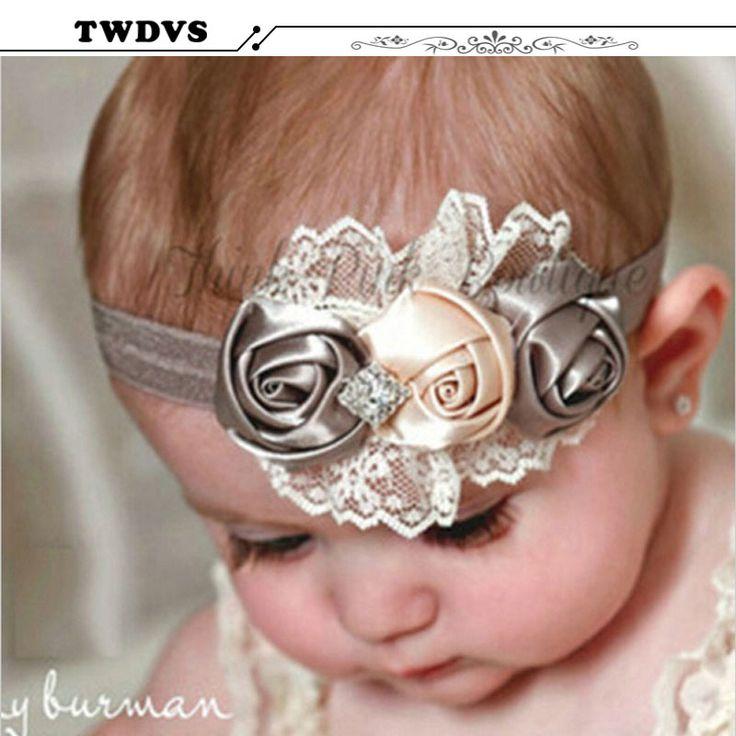 Twdvs meisje peuter elastische hoofdbanden rose bloem crystal kinderen hoofddeksels haarbanden haaraccessoires w227