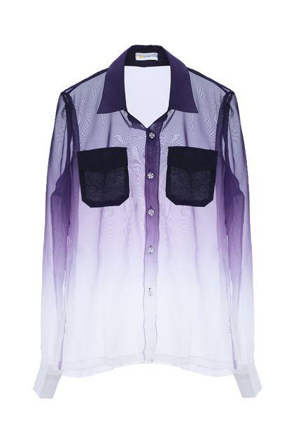 Dip Dye Sheer Shirt  $37.90  romwe.com  #romwe