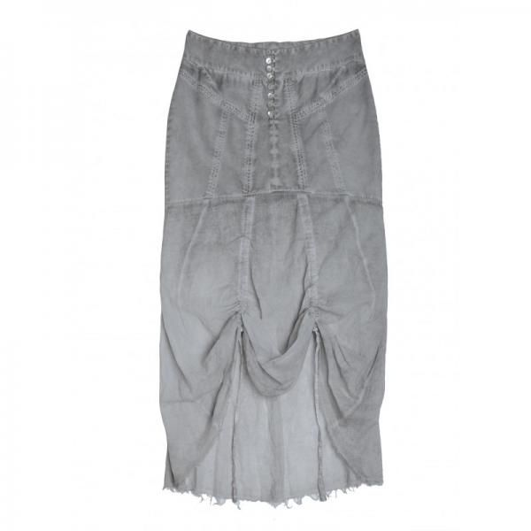 Grey oliate long cotton and lyocell skirt