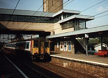 Harlow Town railway station, Essex, UK.Train to London.