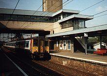 Harlow Town railway station, Essex, UK.Train to London.