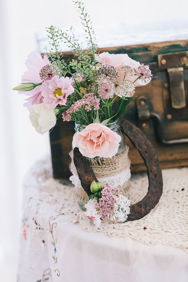 Pink rose and rustic style flowers wedding decor, from 'A 1920s and 1930s Antique and Old Fashioned Vintage Inspired Barn Wedding'. Photography http://www.brighton-photo.com/