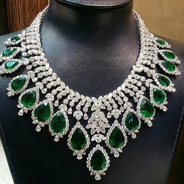 Sensational eye watering #emeraldsanddiamonds necklaces from @bijancoinc