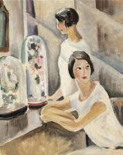 "869/1138 - Gerda Wegener: ""Etude pour couronné de mariées"". Inscribed on the stretcher Gerda Wegener. Oil on compoboard. 40 x 33 cm."