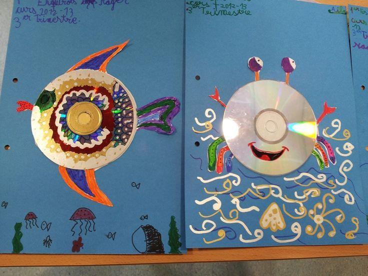Tapa álbum trabajos escolares. Portada álbum infantil. Tapa con materiales reciclados. Dibujar animales marinos con discos. Reciclar cd