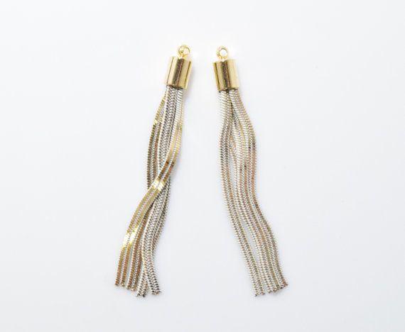 Ivory Metal Tassel . Chain Tassel . Jewelry Craft Supply . 16K Polished Gold Plated over Brass Cap - 2pcs / RG0060-PGIV