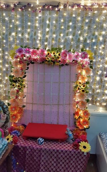 Ganesh decoration and flower on pinterest for Aarti thali decoration ideas for ganpati