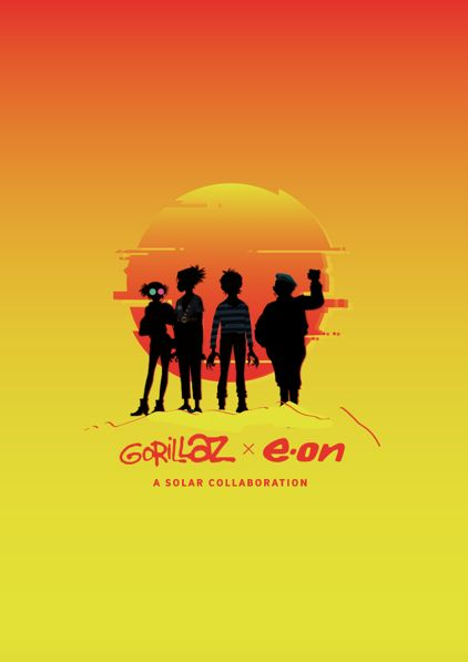 Gorillaz announce solar-powered collaboration with E.ON #poster #ombre #sun #shadow #gradient #design