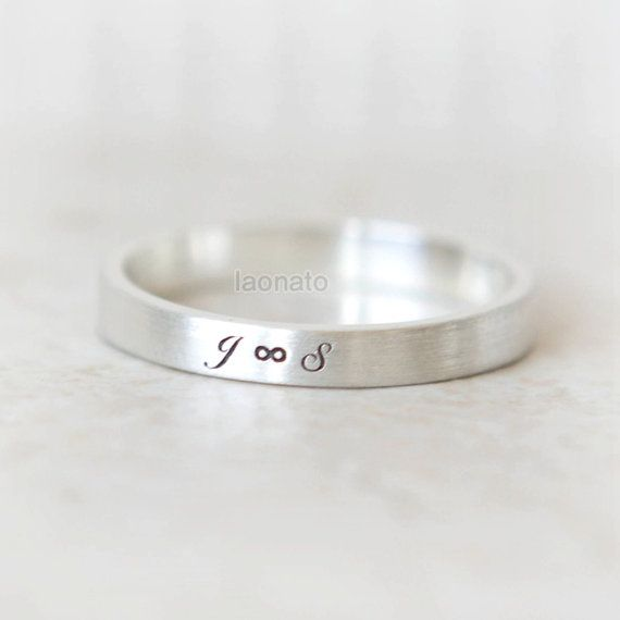 Infinity and Initials engraved ring in sterling silver--Custom Personalized Initial Ring on Etsy, $29.00