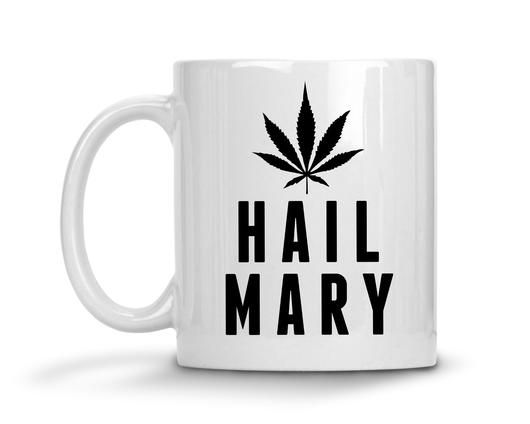 Hail Mary Ceramic Coffee Mug  Introducing your new favorite Monday funny coffee mug! Pour your morning coffee into this gorgeous graphic design. This cup will wake the office up with a good laugh. This beautiful sassy statement mug is the perfect gift for friends, family, or that special someone (including yourself) who needs a cup of joe to get their day started.