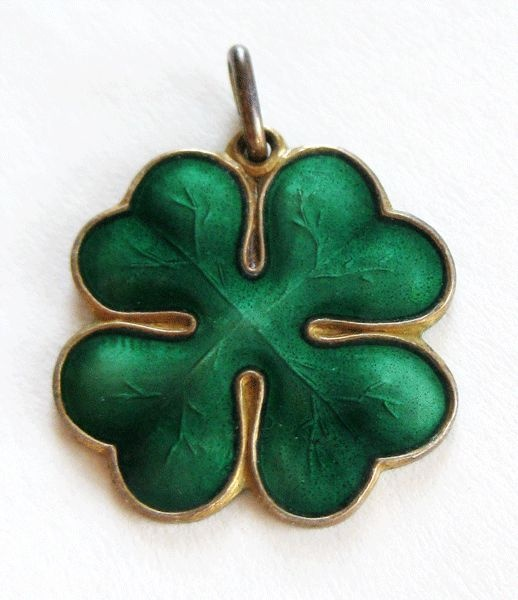 Vintage Sterling Enamel Norway Aksel Holmsen Charm Four-Leaf Clover from quick-red-fox on Ruby Lane
