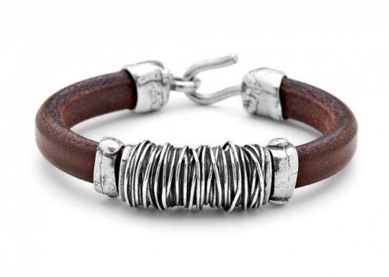 Platadepalo: #pulseras de cuero y #plata para hombre: