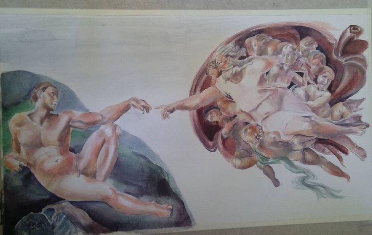 Ademin'in yaratılışı suluboya reprodüksiyon  The Creation of Adam watercolor reproduction . . . Kendini heykeltıraş olarak tanımlayan Michelangelo'nun en önemli eserlerinden 'Adem'in Yaratılışı', yaratılış efsanesindeki büyük ayrılmayı ve birbirine ancak parmak ucu kadar yakın ama bir o kadar ayrı düşmüş Tanrı ve Adem'in hikâyesini konu alır. Hristiyanlıkta Tanrı'nın Adem'e hayat üflemesinin betimlendiği sahnede, bir birine değen işaret parmakları, Tanrı'nın Adem'i kendi suretinden…