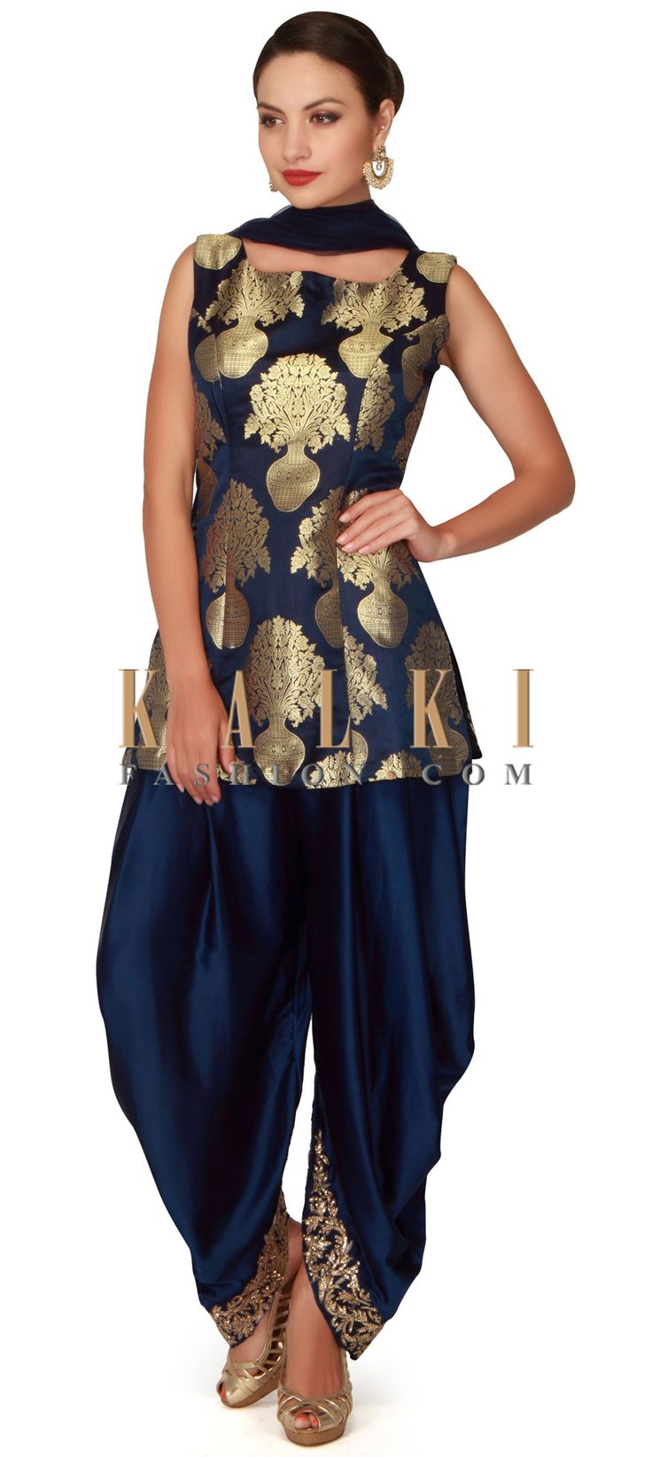 Buy now navy-blue-straight-suit-adorn-in-brocade-silk-only-on-kalki