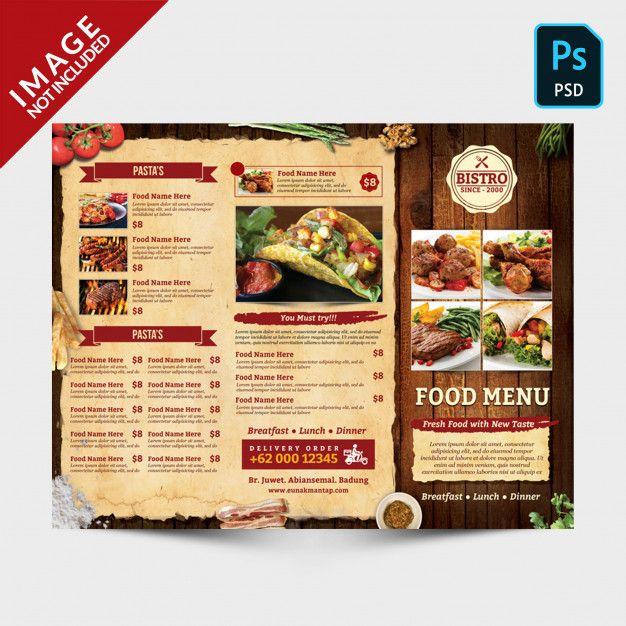 Vintage Trifold Menu Front Side Food Menu Brochure Food Breakfast Restaurants
