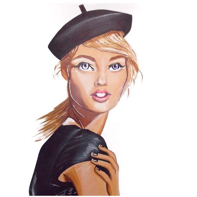 The lovely @sashapivovarovareal #blackberet