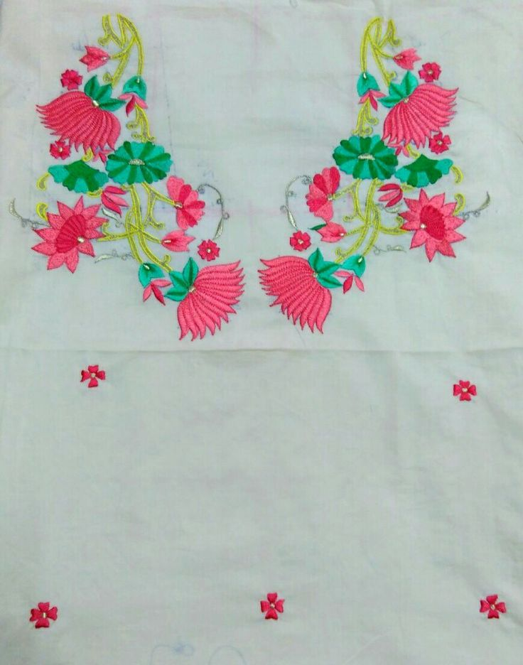 Floral embroidery on off white cotton kurta