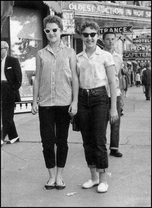 YEP!  That was us in the 50s.  Mid 50's, it was the same, except one of your dad's long sleeved shirts that went all the way down to mid thigh, with sleeves rolled up was all the rage.