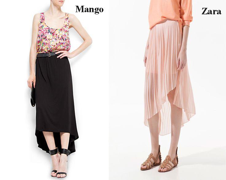 Falda asimétrica o tail hem de color negro y Falda asimétrica o tail hem de color rosa.