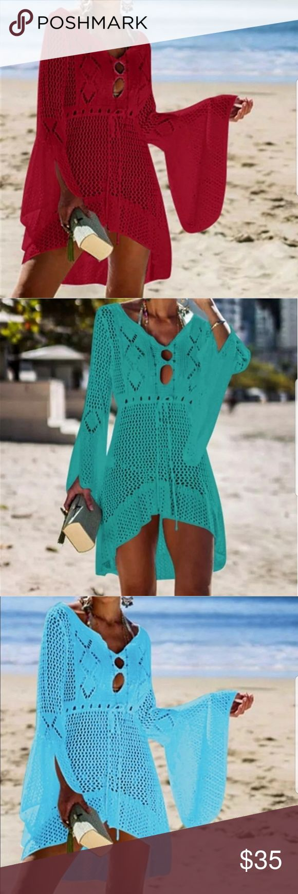 High Quality Crochet Knitted Beach Dress Red Summer Women Beachwear Sexy Red Cro... 3