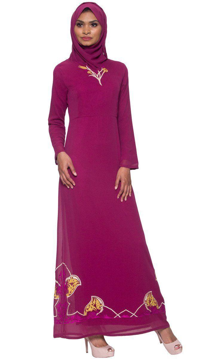 e40698e5c26 Tilla Embroidered Formal Muslim Evening Dress Abaya - Purple Orchid ...