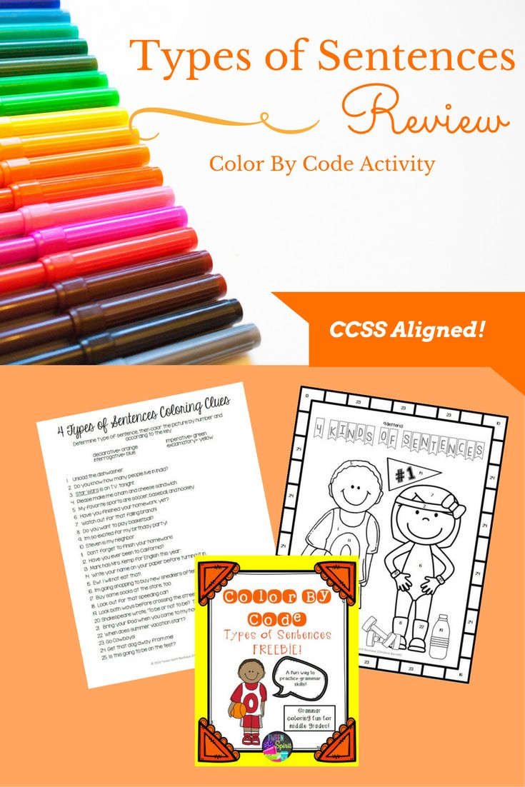 FREE DOWNLOAD!  4 types of sentences review and practice for upper elementary and middle school kids. Everything kids need to review all kinds of sentences is right here in this FUN coloring activity!   This FREE Color By Code activity reviews:  ★ Declarative Sentences! ★ Imperative Sentences! ★ Interrogative Sentences! ★ Exclamatory Sentences!