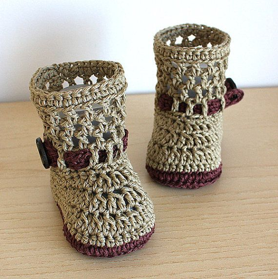 PDF file - CROCHET Pattern - Baby Boots Fashion Spring  ( 0-6 /6- 12 months)