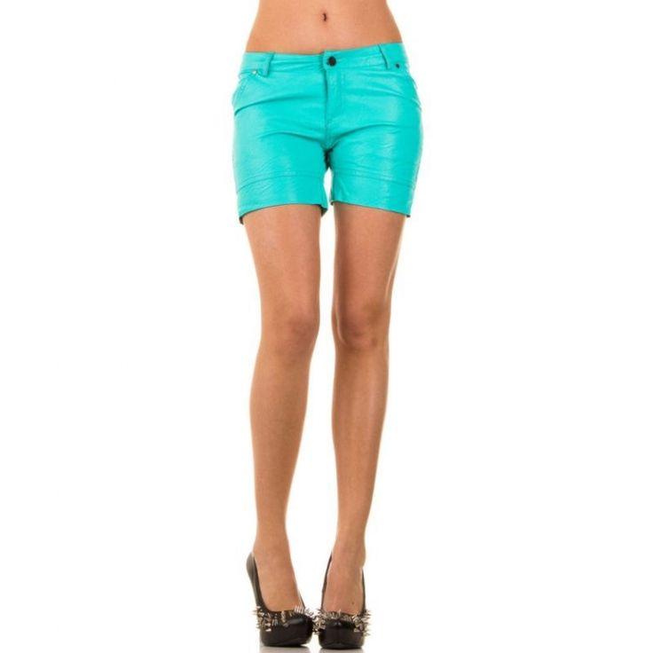 Korte zomer broek dames wetlook turquoise blauw groen XS t/m L €11,99