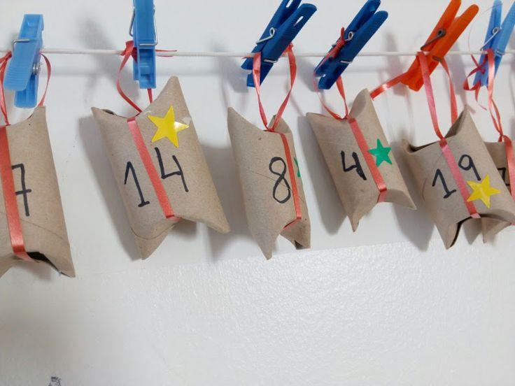 CALENDARI D'ADVENT - Material: tubs cartró, cinta, gomets, retoladors, sorpresa - Nivell: P5 Menjador 2015/16 Escola Pia Balmes